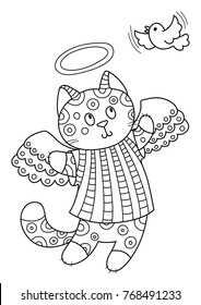 Outlined doodle anti-stress coloring cute cat angel and bird. Coloring book page for adults and children