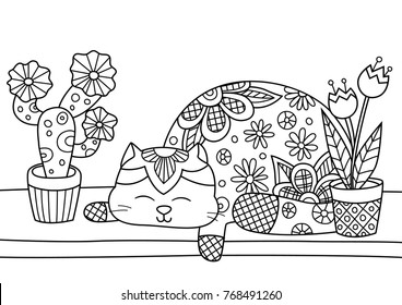 Outlined doodle anti-stress coloring cute fat cat sleeping on a windowsill with indoor plants. Coloring book page for adults and children