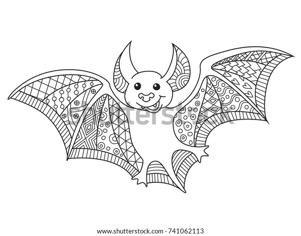 Outlined Doodle Antistress Coloring Cute Bat Stock Vector Royalty Free 741062113