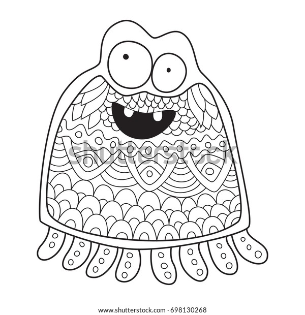 Outlined Doodle Antistress Coloring Funny Monster Stock ...