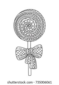 Outlined doodle anti-stress coloring lollipop with bow. Coloring book page for adults and children