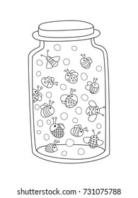 Outlined doodle anti-stress coloring page bottle with bugs. Coloring book page for adults and children