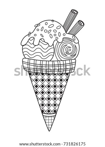 Outlined Doodle Antistress Coloring Page Tasty Stock Vector Royalty