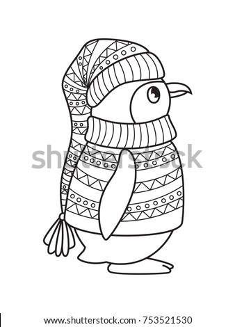 Outlined Doodle Antistress Coloring Penguin Coloring Stock Vector ...