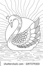 Outlined doodle anti-stress coloring swan. Coloring book page for adults and children