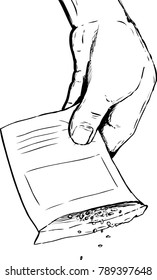 Outlined drawing of hand holding packet with seeds falling out over white background