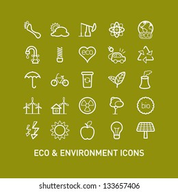 Outlined Ecology and Environment Icon Set Collection
