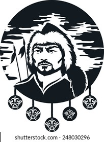 Outlined ethnic mongolian warrior silhouette. Vector illustration
