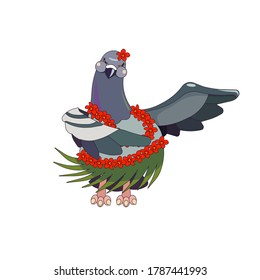Outlined Feral Pigeon dancing in Hula costume on white isolated background, vector illustration in Cartoon style for prints, patterns, stickers, elements of design for landings, websites or icons.