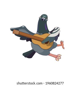 Outlined Feral Pigeon playing the guitar on white isolated background, vector Rock Dove with Musical instrument in Cartoon style for prints, stickers, elements of design for social media and apps.
