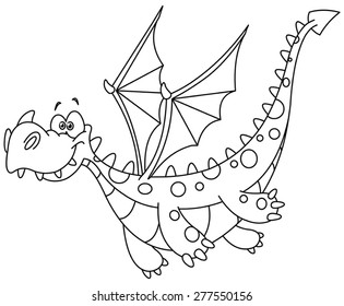Outlined flying dragon. Vector illustration coloring page.