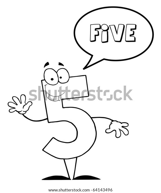 Outlined Friendly Number 5 Five Guy Stock Vector (Royalty Free) 64143496