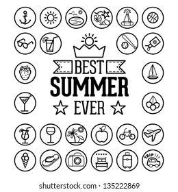 Outlined Funny and Cool Summer Icon Vintage Set Collection