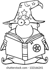 Outlined Funny Wizard Holding A Magic Book