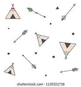 Outlined hand drawn colored tipi tents with indian motives and arrows and miscellaneous shapes. Seamless pattern
