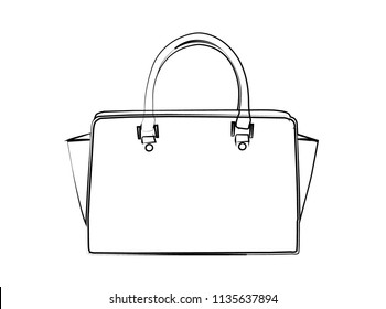 Outlined Handbag. Isolated Handbag. Summer Bag