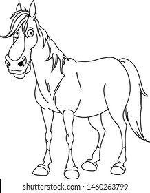 Outlined handsome horse. Vector line art illustration coloring page.