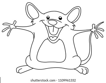 Outlined happy mouse raising his arms. Vector line art illustration coloring page.