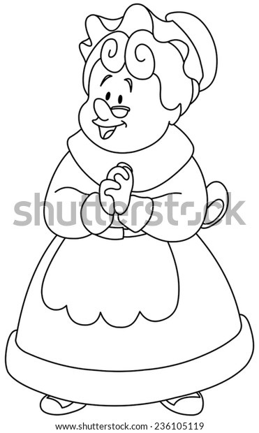 Outlined Happy Mrs Claus Vector Illustration Stock Vector