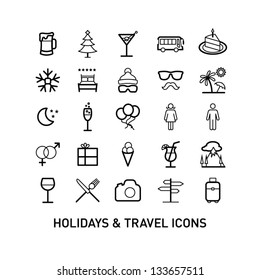 Outlined Holidays and Travels Icon Set Collection