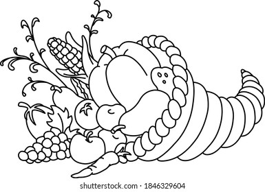Outlined Horn of plenty. Thanksgiving cornucopia with autumn fruits and vegetables. Vector lineart illustration coloring page.