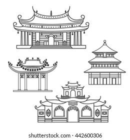 Outlined icons Chinese House