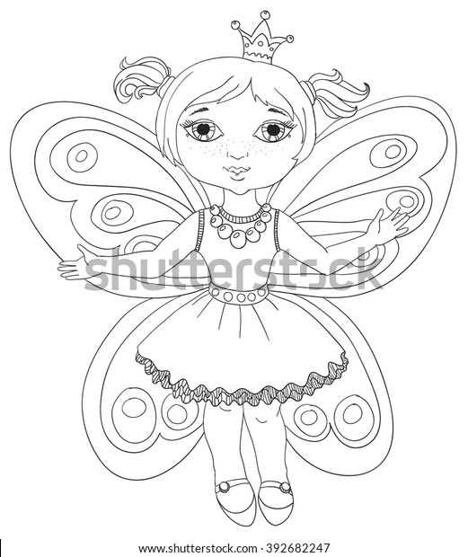 Outlined Illustration Little Fairy Coloring Stock ...