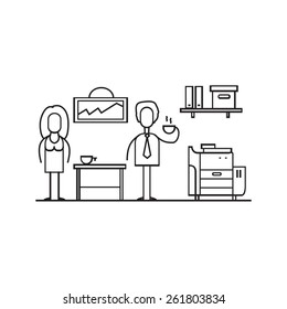 Outlined illustration of man and woman in the office with coffee