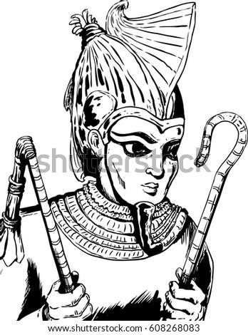 Outlined Illustration Osiris Egyptian God Holding Stock Vector
