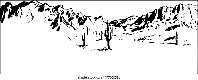 Outlined illustration of wide desert mountain landscape with clear sky