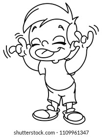 Outlined kid making a face and showing his tongue. Vector line art illustration coloring page.