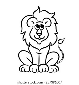Lion Outline Drawing Animals – Outline linear animals logos set vector.