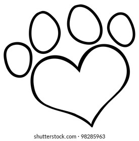 Outlined Love Paw Print. Vector Illustration