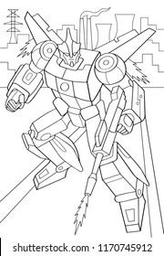 Outlined man in transformation armor isolated on white background. Vector illustration of protector robot with wings in city. Coloring book. Cyborg fly pose with gun.