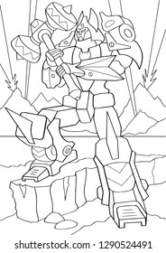 Outlined man in transformation armor isolated on white background. Vector illustration of protector robot with big hammer in hand. Coloring book. Cyborg standing in a pose on the battlefield.