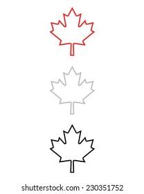 Outlined Maple Leaf Set - Vector
