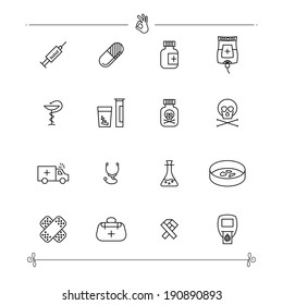 Outlined Medical Icons Set Collection