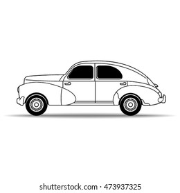 outlined old classic car in 1950-vector drawing