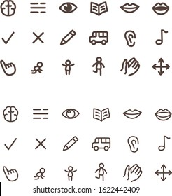 Outlined preschool icons for education - set of icon for read, write, think, speak, sing, watch, point activity