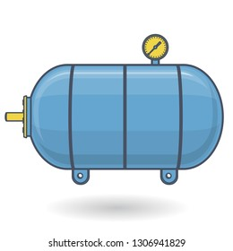 Outlined pressure vessel for water, gas, air. Blue yellow pressure tank for storage of material, water. Valves, measuring unit, handles. Flatten icon vector reservoir illustration