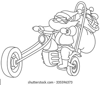 outlined santa on a motorcycle vector illustration coloring page