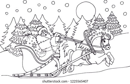Outlined Santa riding his sleigh. Santa Claus sledding through the winter forest, coloring, vector illustration.