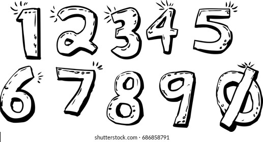 Outlined set of isolated cartoon of shiny hand drawn numbers over white background