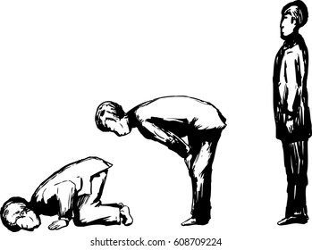 Outlined side view on Muslim man in various Islamic prayer positions