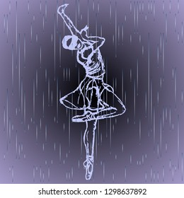 outlined silhouette of blind girl which dancing in the  rain  on grey background. Balet dancer.  people with reduced capabilities.