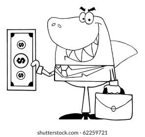 Outlined Smiled Business Shark Holding Cash