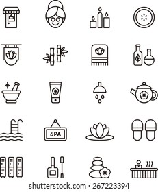 Outlined Spa & Wellness icons in white background