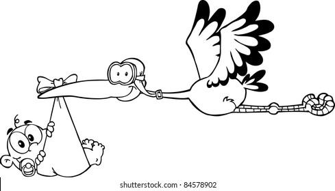 Outlined Stork Delivering A Newborn Baby Boy