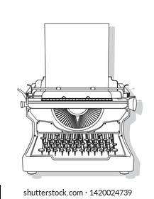Outlined typewriter vector design, isolated and grouped objects over white background