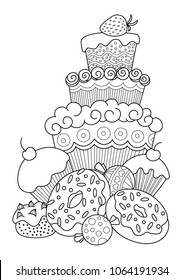 Outlined vector doodle anti-stress coloring book page sweets. For adults and children